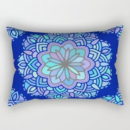 Heart mandala Pattern on Dark Blue Background Rectangular Pillow