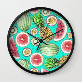 Tropical Tastes in Turquoise Wall Clock