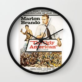 Vintage Classic Movie Posters, The Ugly American Wall Clock