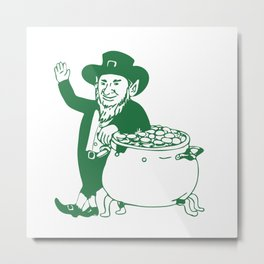 Green Leprechaun Standing by Pot of Gold Drawing Metal Print