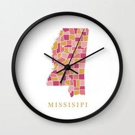 Missisipi map Wall Clock