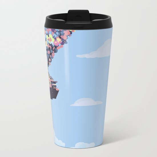 disney pixar up.. balloons and sky with house Metal Travel Mug