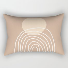 Geometric Lines in Brown Beige (Sun and Rainbow Abstraction) Rectangular Pillow