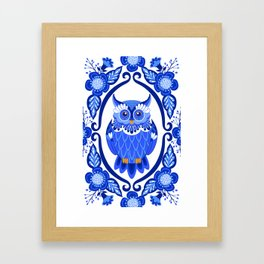 Delft Blue and White Owls and Flowers Framed Art Print