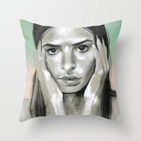 miami Throw Pillows featuring Miami by Sherie Myers