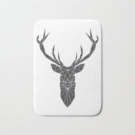 Grey Deer Head Illustration Bath Mat