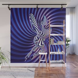 0474s-MM Sensual Woman on Knees Abstract Nude Figure Op Art Blue Topographic Feminine Power Revealed Wall Mural