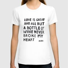 WINE White Womens Fitted Tee SMALL