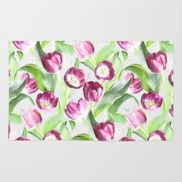 Bright Tulips on Soft Grey Rug