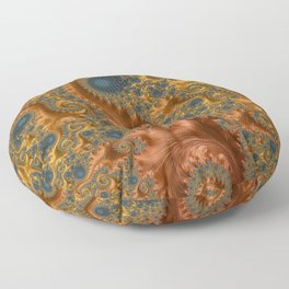 Copper Leaves-Teal  Floor Pillow