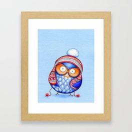 Winter Hat Owl Framed Art Print