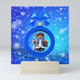 Blue Christmas Teddy Bear Mini Art Print