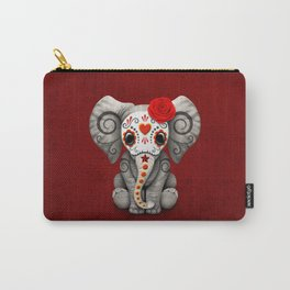 Deep Red Day of the Dead Sugar Skull Baby Elephant Carry-All Pouch