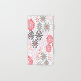 Floral pattern in pink and gray Hand & Bath Towel