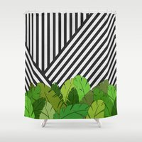 bianca green Shower Curtains featuring Green Direction by Bianca Green