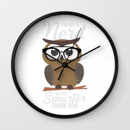nerdy owl intelligent smart reading funny gift Wall Clock