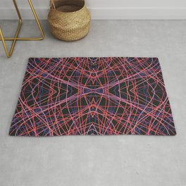 Fuath - Abstract Symmetric Thin Red Lines on Black Rug