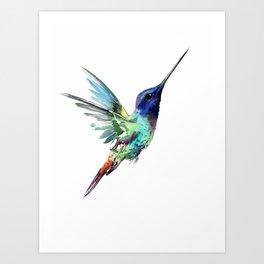 Flying Hummingbird flying bird, turquoise blue elegant bird minimalist design Art Print