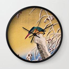 Ohara Koson - Top Quality Art - Kingfisher in snow Wall Clock