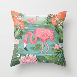 Flamingo and Waterlily Throw Pillow