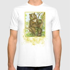 Bear on a Tree Mens Fitted Tee White MEDIUM