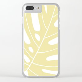 Yellow monstera deliciousa illustration Clear iPhone Case