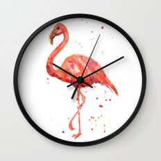Flamingo, Pink Flamingo, Tropical, bird art, Florida Wall Clock