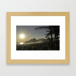 Sunset at Ipanema Beach with Pam Trees Framed Art Print