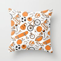 sports Throw Pillows featuring SPORTS by Shoreside