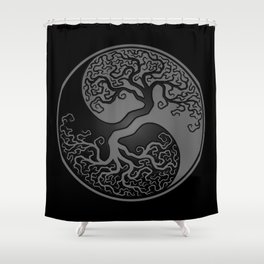 Gray and Black Tree of Life Yin Yang Shower Curtain