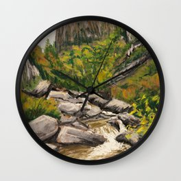 Pastel Painting   Rocky stream running through autumn mountain forest Wall Clock