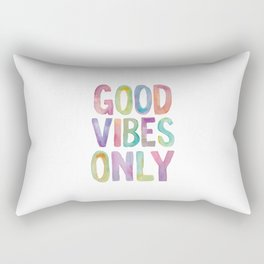 Good Vibes Only Watercolor Rainbow Typography Poster Inspirational childrens room nursery Rectangular Pillow