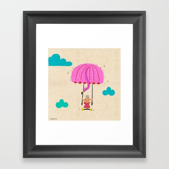 one of the many uses of a flamingo - parachute Framed Art Print
