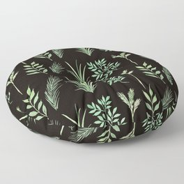Bouquet of branches and leaves pattern,  Black background Floor Pillow