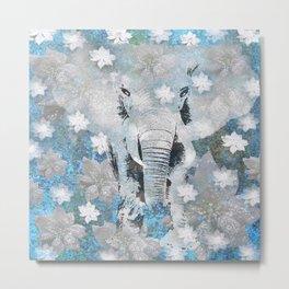 ELEPHANT AND FLOWERS Metal Print