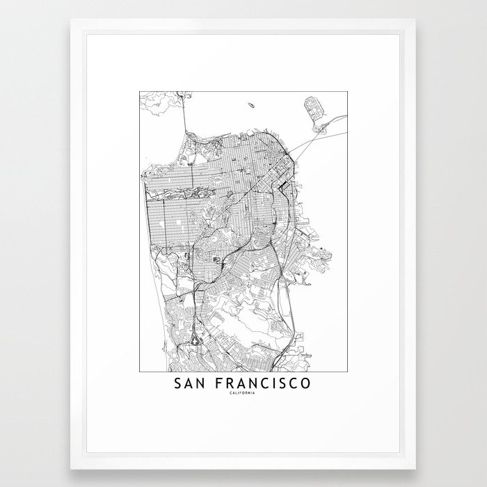 San Francisco White Map Framed Art Print by multiplicity Society6