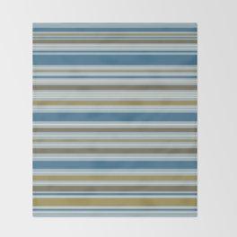 Stripey Design Gold Cream Brown Blues Throw Blanket