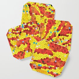 Yellow and red abstract Coaster