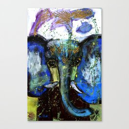 Dark Grey Elephant Original Fine Art - Rebecca Stella Art Canvas Print