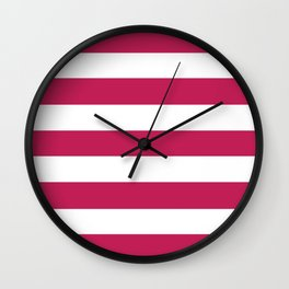 Rose red - solid color - white stripes pattern Wall Clock