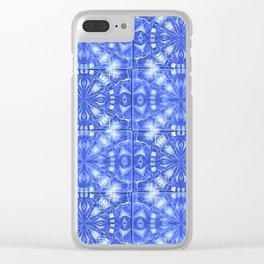 Fountain Blue Tile Pattern Clear iPhone Case