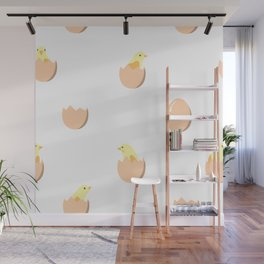 Seamless pattern with chickens in eggs Wall Mural