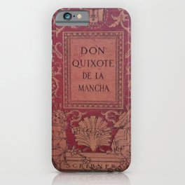 Antique Book Cover * Literacy Art for Book Lovers * Don Quixote * Red * Gold #donquixote iPhone Case
