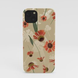 Helenium Sneezeweed Flower Pattern in Neutral Autumn Colors iPhone Case