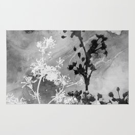 Black and White Watercolor Flowers Rug