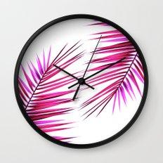 pink palm leaf II Wall Clock