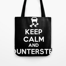 Keep Calm and Countersteer - White Text Tote Bag