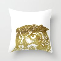 gold foil Throw Pillows featuring Faux Gold Foil Owl by Stacie Clarke