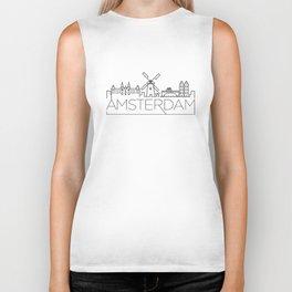 Linear Amsterdam Skyline Design Biker Tank