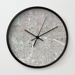 Vintage map of London city Wall Clock
